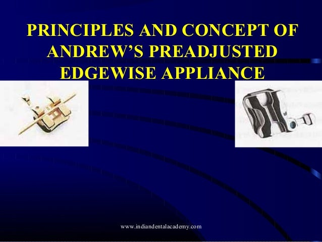 PRINCIPLES AND CONCEPT OF ANDREW'S PREADJUSTED EDGEWISE APPLIANCE www.indiandentalacademy.com