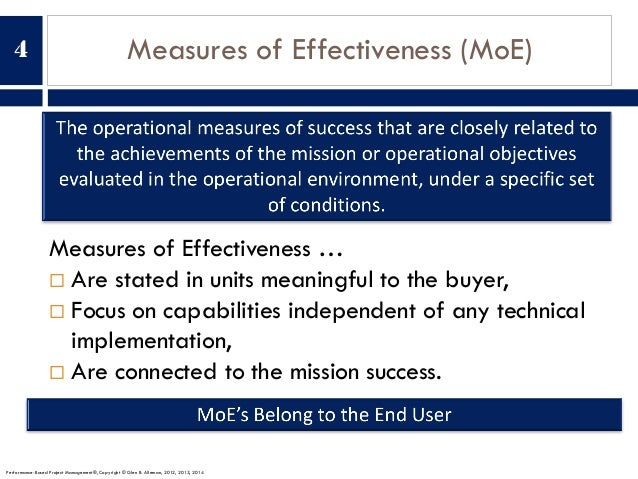 Measures of Effectiveness (MoE) Measures of Effectiveness … ¨ Are stated in units meaningful to the buyer, ¨ Focus on capa...