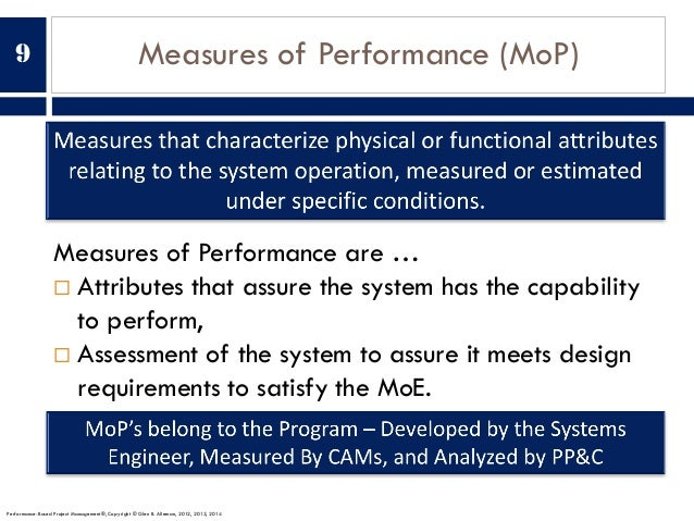 Measures of Performance (MoP) Measures of Performance are … ¨ Attributes that assure the system has the capability to perf...