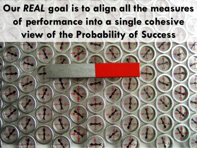 Our REAL goal is to align all the measures of performance into a single cohesive view of the Probability of Success Perfor...
