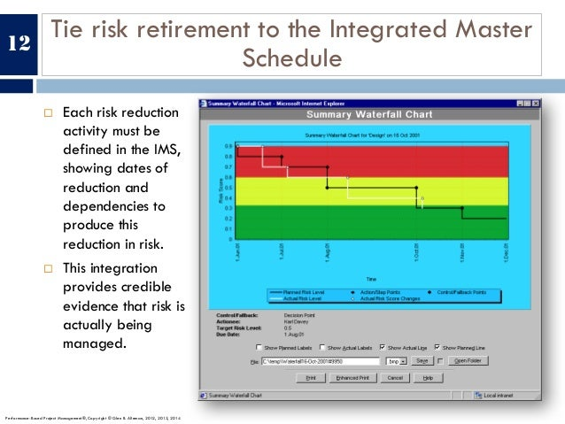 Tie risk retirement to the Integrated Master Schedule ¨ Each risk reduction activity must be defined in the IMS, showing d...