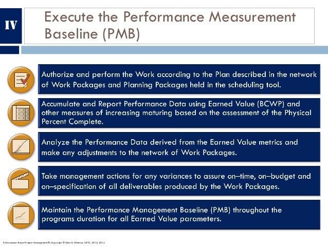 Execute the Performance Measurement Baseline (PMB) Performance-Based Project Management®, Copyright © Glen B. Alleman, 201...