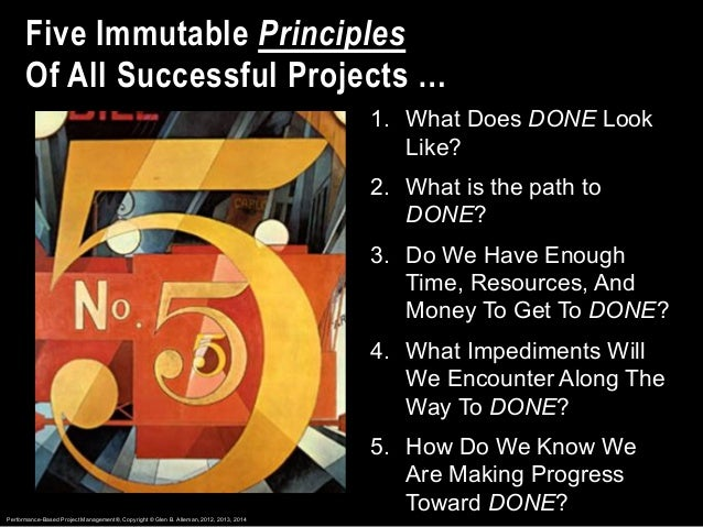 1. What Does DONE Look Like? 2. What is the path to DONE? 3. Do We Have Enough Time, Resources, And Money To Get To DONE? ...
