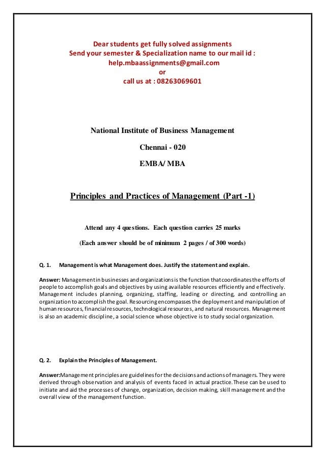 Principles of Management and Practice