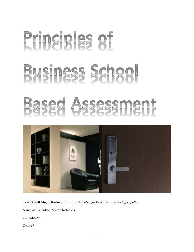 Principles of business production establishing