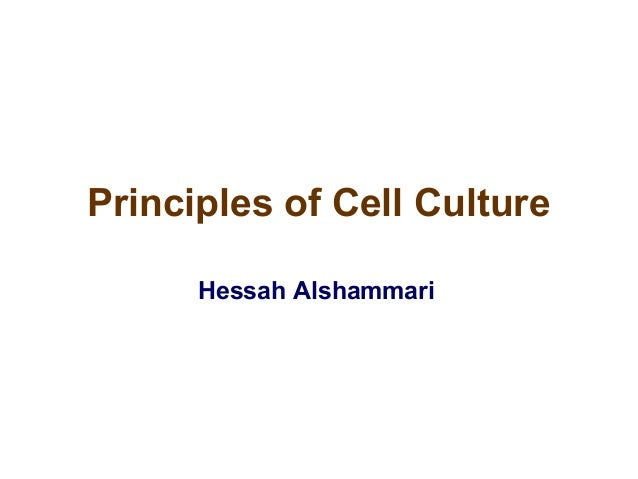 Principles of Cell Culture Hessah Alshammari