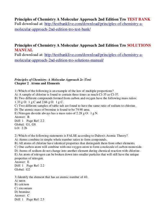Chemistry Molecular Approach 3rd Tro