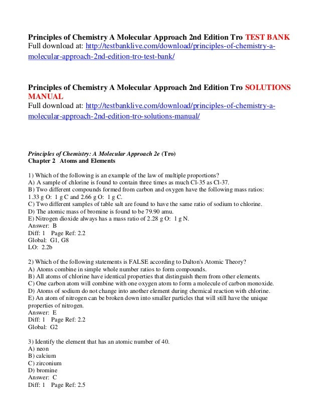 principles of chemistry a molecular approach 2nd edition tro test bank rh slideshare net Chemistry Poster Chemistry Textbook