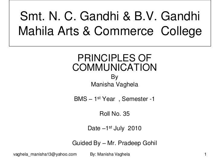 Smt. N. C. Gandhi & B.V. Gandhi  Mahila Arts & Commerce College                          PRINCIPLES OF                    ...