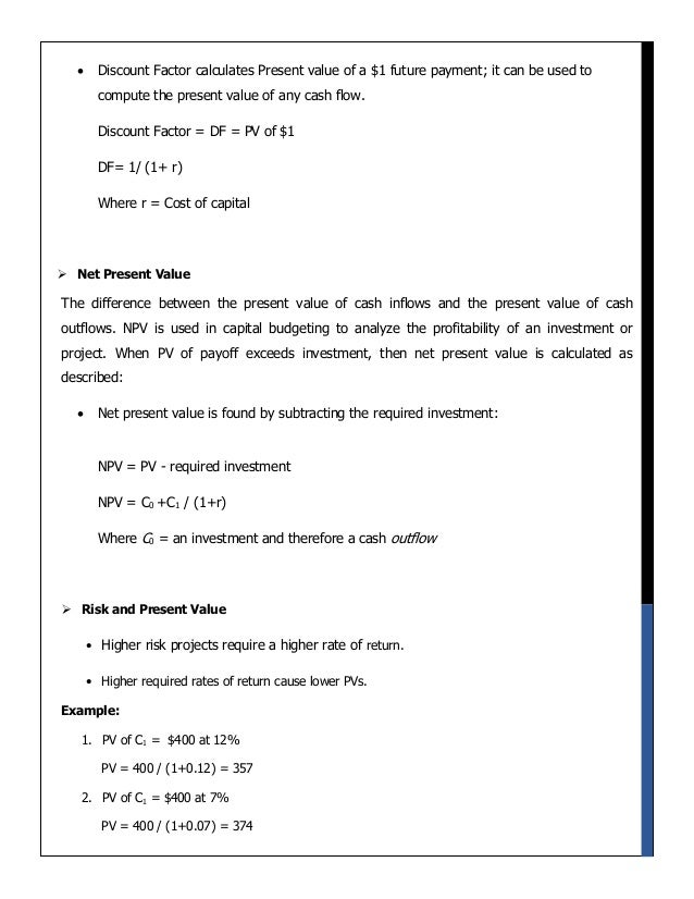 principles of corporate finance net present View notes - principles of corporate finance-1 from management 1010 at university of missouri finance terminology capital budgeting methods net present value - npv npv compares the value of a dollar.