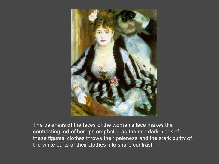 The paleness of the faces of the woman's face makes the contrasting red of her lips emphatic, as the rich dark black of th...