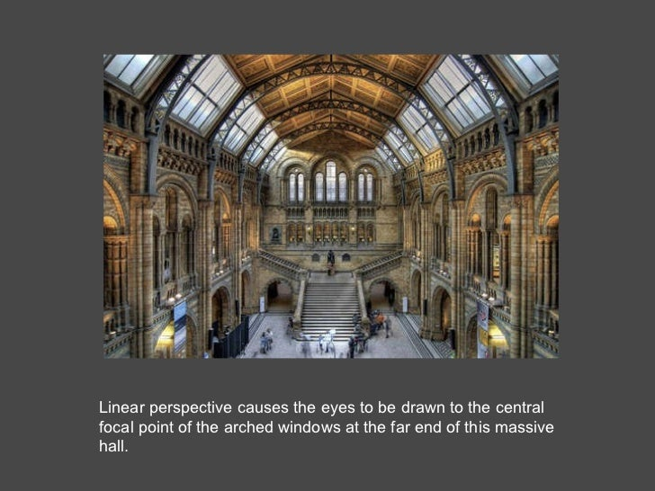 Linear perspective causes the eyes to be drawn to the central focal point of the arched windows at the far end of this mas...
