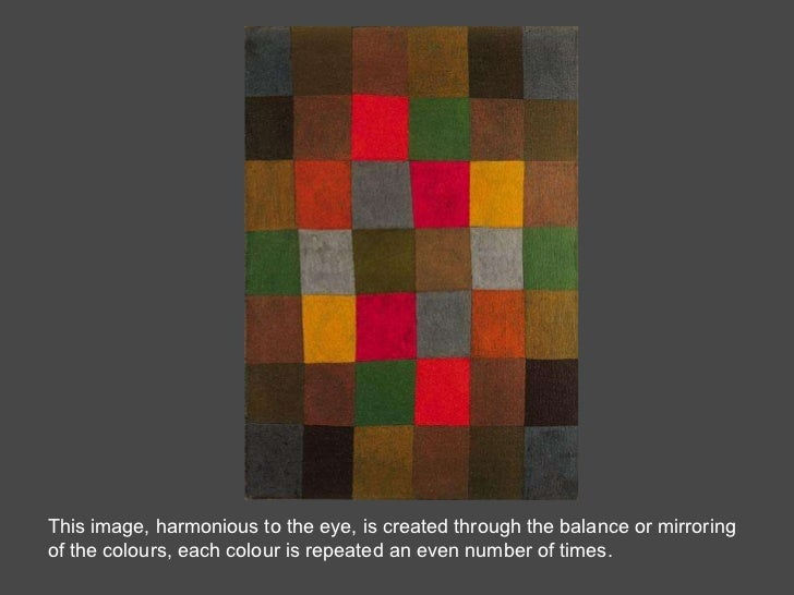 This image, harmonious to the eye, is created through the balance or mirroring of the colours, each colour is repeated an ...