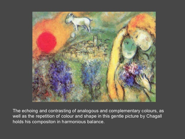 The echoing and contrasting of analogous and complementary colours, as well as the repetition of colour and shape in this ...