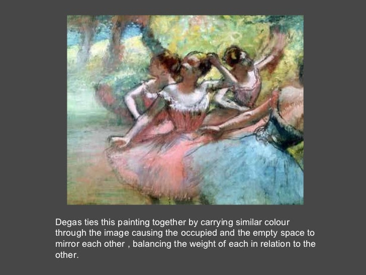 Degas ties this painting together by carrying similar colour through the image causing the occupied and the empty space to...