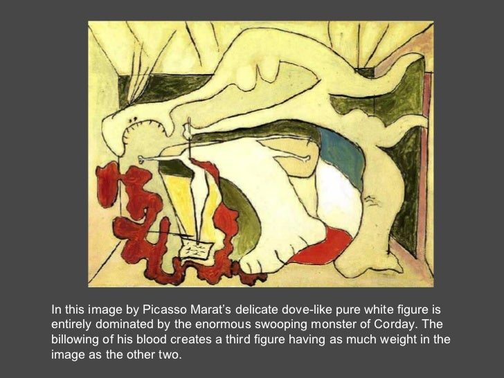 In this image by Picasso Marat's delicate dove-like pure white figure is entirely dominated by the enormous swooping monst...