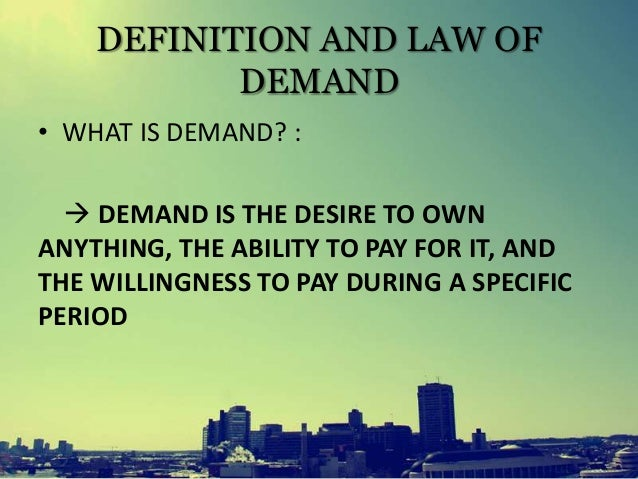 description of the demand and supply model and relationship between each other Definition of demand: demand for a product refers to the amount of it which will be bought per unit of time at a particular price substitute goods: those goods which can be used in place of one another are called substitute goods thus there is an inverse relationship between income and demand of inferior goods.