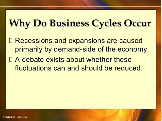 why business cycles occur All businesses operate around certain business cycles a business cycle refers to various trends that occur within a business or industry, such as growth or contraction.