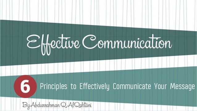 principles of effective communication pdf