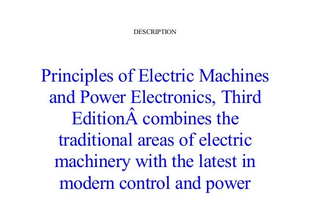 Electric machines electronics and pdf principles of power