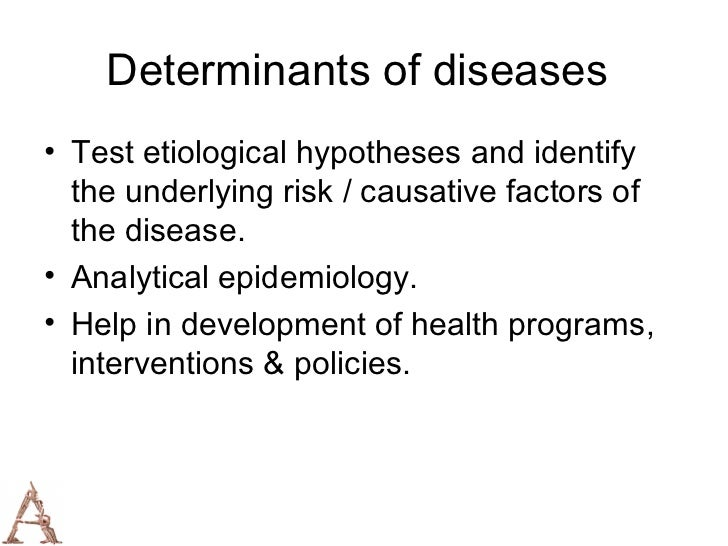 a description of the epidemiology as the study of patterns of health and illness In epidemiology, measuring the occurrence of disease or other health-  the first  step in an epidemiological study is to define the hypothesis to be tested  tive is  to search for patterns that might suggest or confirm specific etiologi.