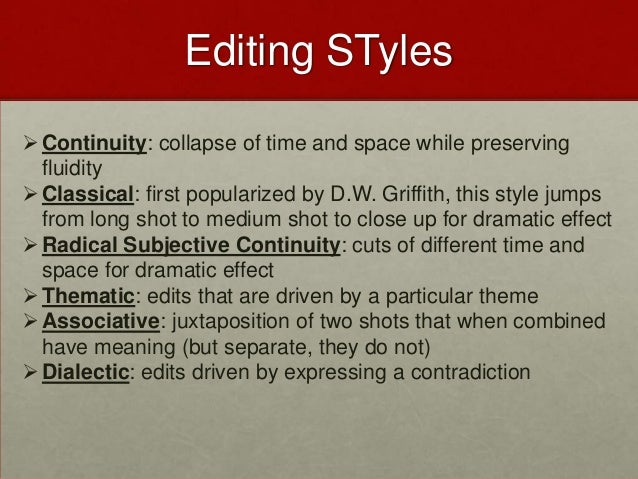 types of film editing styles