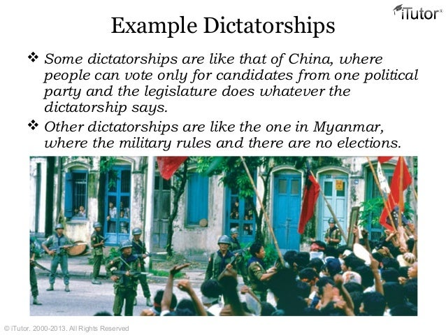 4. Dictatorship types of government.