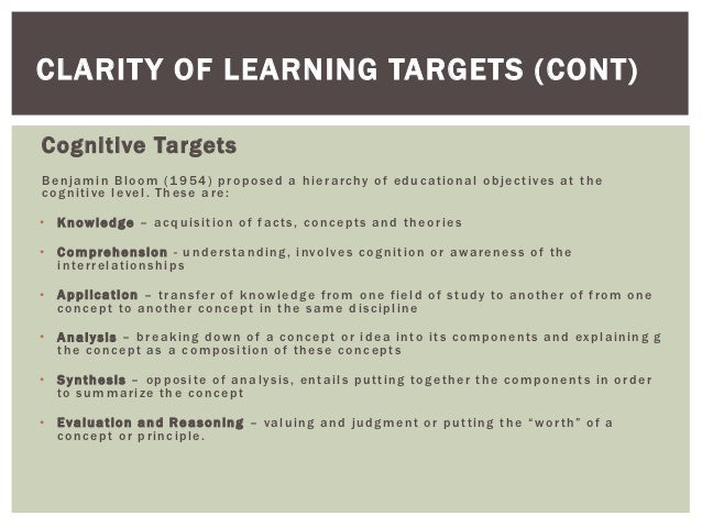 CLARIT Y OF LEARNING TARGETS (CONT)Cognitive TargetsB e n j a m i n B l o o m ( 1 9 5 4 ) p r o p o s e d a h i e r a rc h...