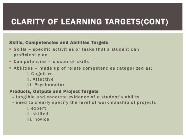 CLARIT Y OF LEARNING TARGETS(CONT)Skills, Competencies and Abilities Targets Skills – specific activities or tasks that a...