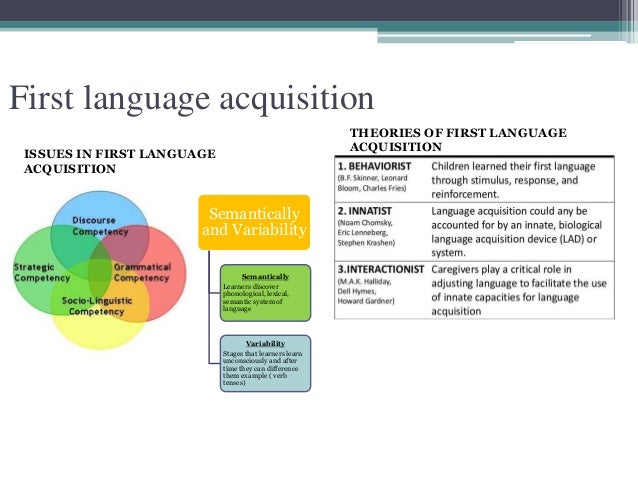 first language acquisition theories Language acquisition- an overview [] language acquisition is the process by which humans acquire the capacity to perceive, produce and use words to understand and communicate it involves the picking up of diverse capacities including syntax, phonetics, and an extensive vocabularyhowever, learning a first language is something that every normal child does successfully without much need for.