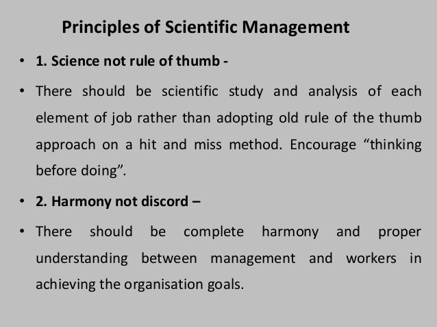 meaning of scientific management Dear @kamal, it is not far from the definition in scientific management in web  page that you have attached, it is written a means of estimation made according .