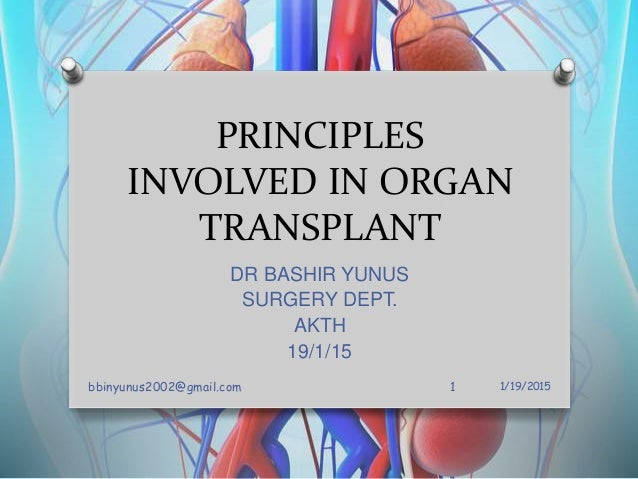 PRINCIPLES INVOLVED IN ORGAN TRANSPLANT DR BASHIR YUNUS SURGERY DEPT. AKTH 19/1/15 1/19/2015bbinyunus2002@gmail.com 1