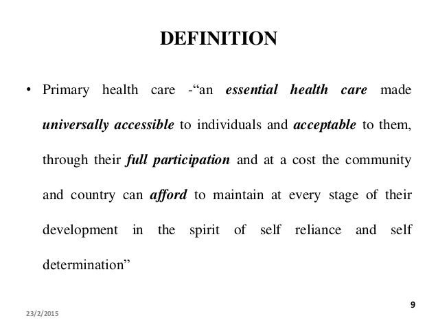 principles of primary health care This essay will discuss the principles of primary health care and its applicability in in australian indigenous communities first it will.