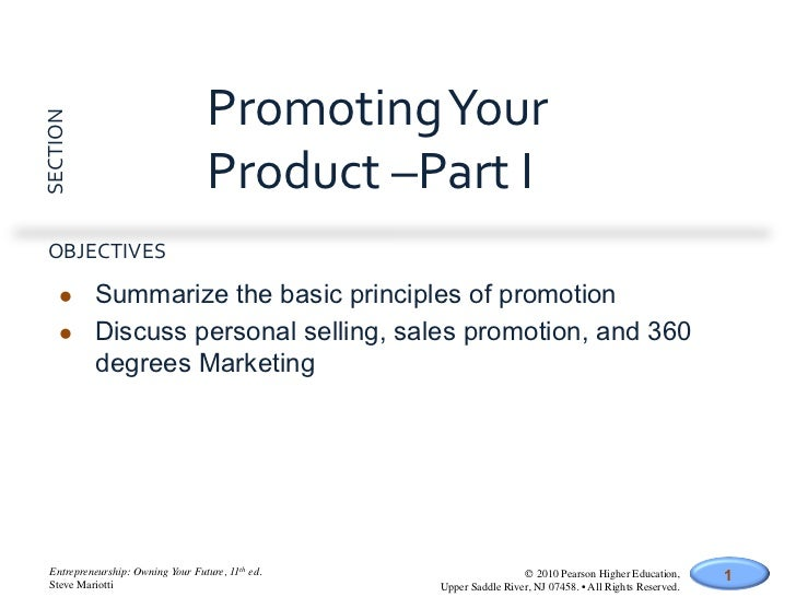 Promoting Your SECTION                                       Product –Part I   OBJECTIVES        l    Summ...