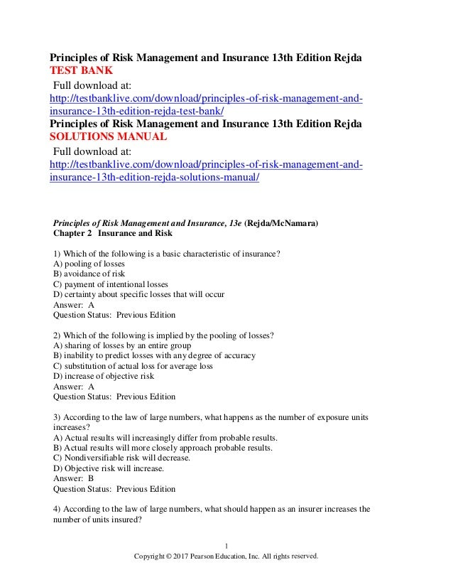 Principles of risk management and insurance 13th edition