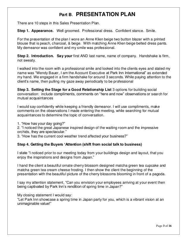 Principles Of Sales Wendy Plan Refection