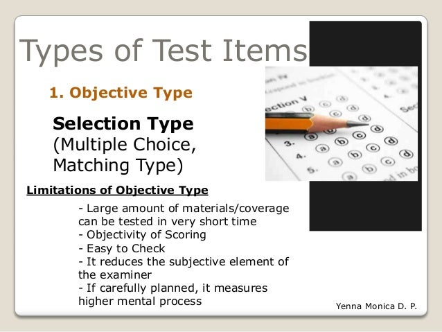 essay type test items Chapter 7 written tests: constructed-response and  of meaning is an essential characteristic for all test items,  during the preparation of the essay-type.