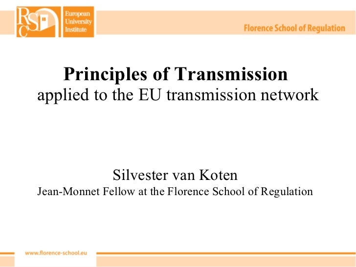 Principles of Transmission  applied to the EU transmission network Silvester van Koten Jean-Monnet Fellow at the Florence ...