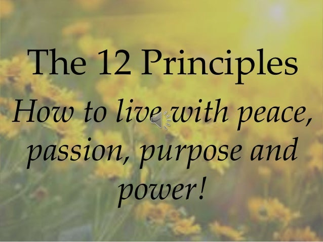 The 12 Principles How to live with peace, passion, purpose and power!