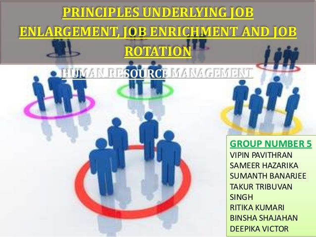 PRINCIPLES UNDERLYING JOBENLARGEMENT, JOB ENRICHMENT AND JOB             ROTATION     HUMAN RESOURCE MANAGEMENT           ...