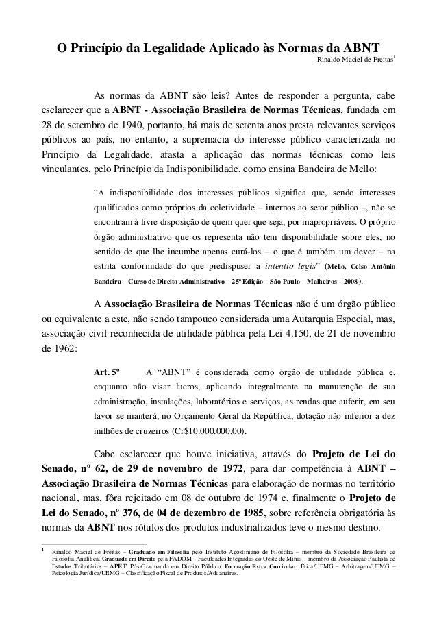 O Princípio da Legalidade Aplicado às Normas da ABNT                                                                      ...