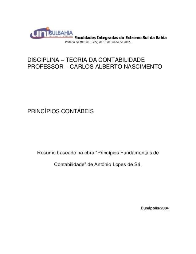 Faculdades Integradas do Extremo Sul da Bahia Portaria do MEC nº 1.727, de 13 de Junho de 2002. DISCIPLINA – TEORIA DA CON...