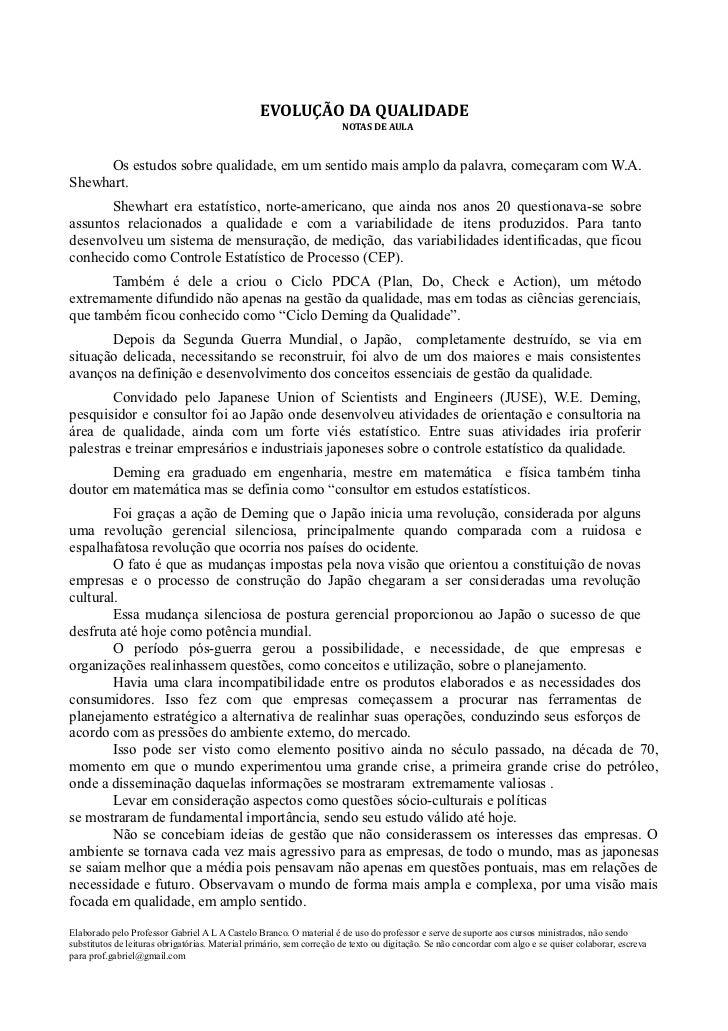 EVOLUÇÃO DA QUALIDADE                                                                      NOTAS DE AULA      Os estudos s...