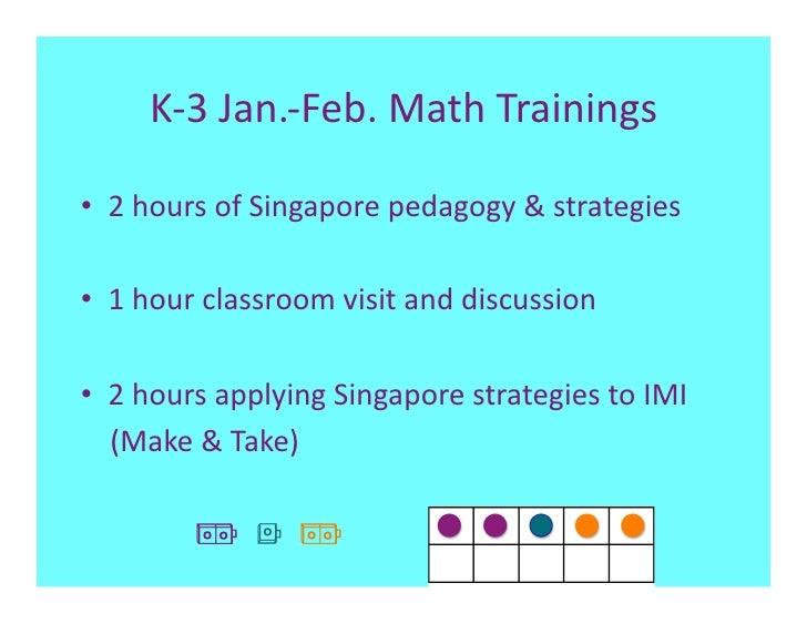K‐3Jan.‐Feb.MathTrainings• 2hoursofSingaporepedagogy&strategies• 1hourclassroomvisitanddiscussion      ...