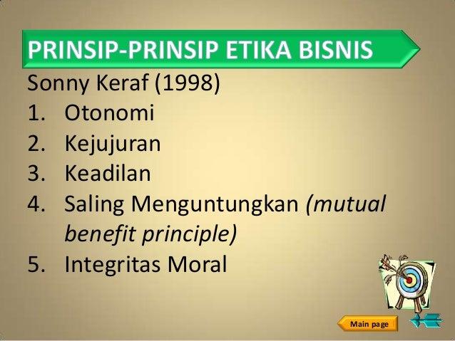 Sonny Keraf (1998)1. Otonomi2. Kejujuran3. Keadilan4. Saling Menguntungkan (mutual   benefit principle)5. Integritas Moral...