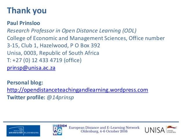 Imagecredit:https://www.flickr.com/photos/haydnseek/2534088367 Thank you Paul Prinsloo Research Professor in Open Distance...