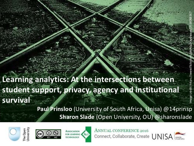 Learning analytics: At the intersections between student support, privacy, agency and institutional survival Paul Prinsloo...