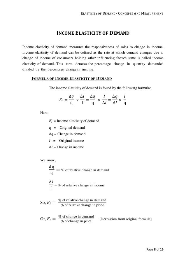 Elasticity Of Demand Concept And Measurements