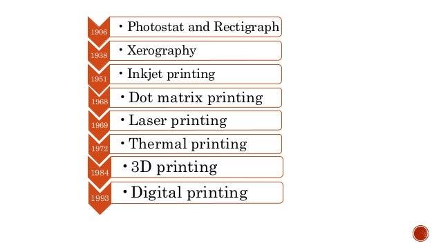 1906 • Photostat and Rectigraph 1938 • Xerography 1951 • Inkjet printing 1968 •Dot matrix printing 1969 •Laser printing 19...