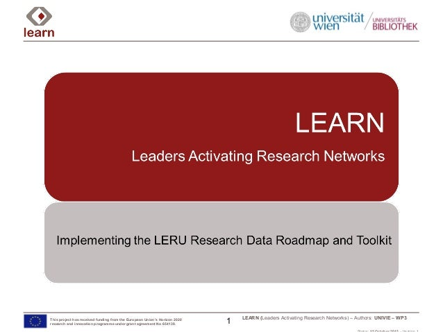 LEARN (Leaders Activating Research Networks) – Authors: UNIVIE – WP3This project has received funding from the European Un...